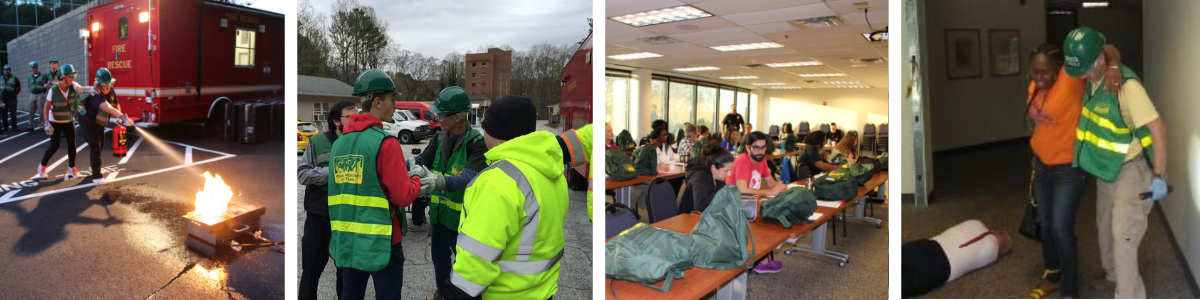 Pictures of DeKalb County CERT in action, extinguishing a fire, working as a team on a scene, sitting in a classroom, and assisting the injured evacuate.