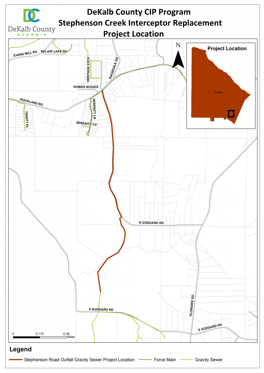 Stephenson Creek Interceptor Replacement   DeKalb County, GA on echols county map, gwinnett county map, bolingbrook county map, cook county map, dooly county map, orange county county map, letcher county map, atlanta map, riley county ks map, dekalb al, burbank county map, lanier county map, chariton county map, daviess county map, cobb county map, long county map, piatt county map, fulton county map, nodaway county map, georgia map,